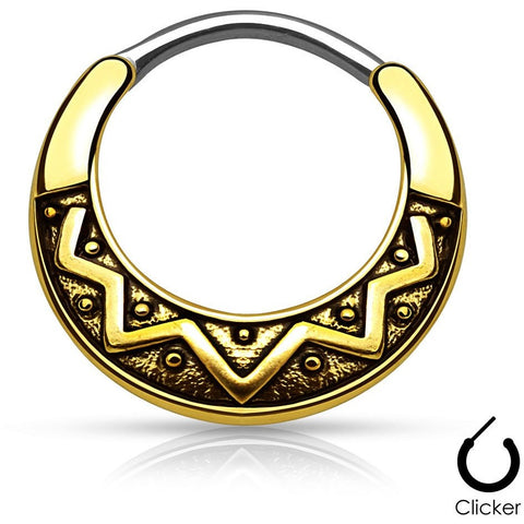 Gold Aztec Tribal Fan Septum Clicker