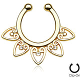 Gold Tribal Fan Clip On Septum