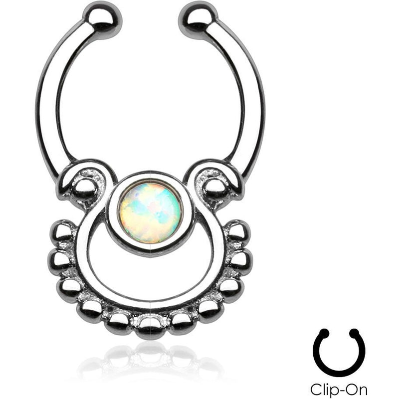 Mayan Goddess White Fire Opal Clip On Septum