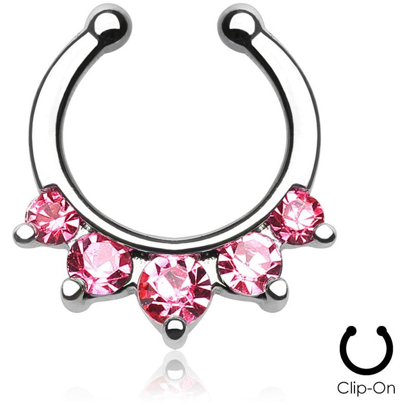 5 Pronged Pink Gem Clip On Septum