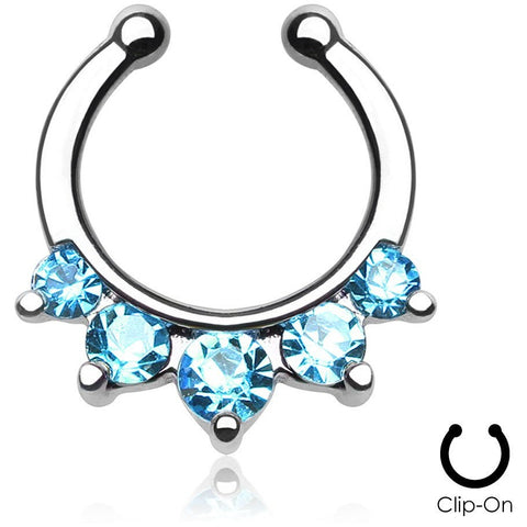 5 Pronged Aqua Gem Clip On Septum