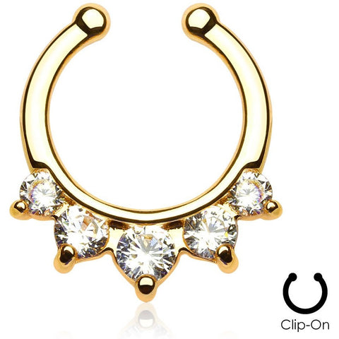 5 Pronged Gold Clip On Septum