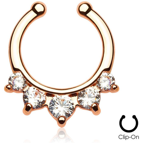 5 Pronged Rose Gold Clip On Septum