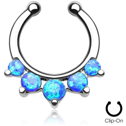 Angelica Blue Fire Opal Clip On Septum