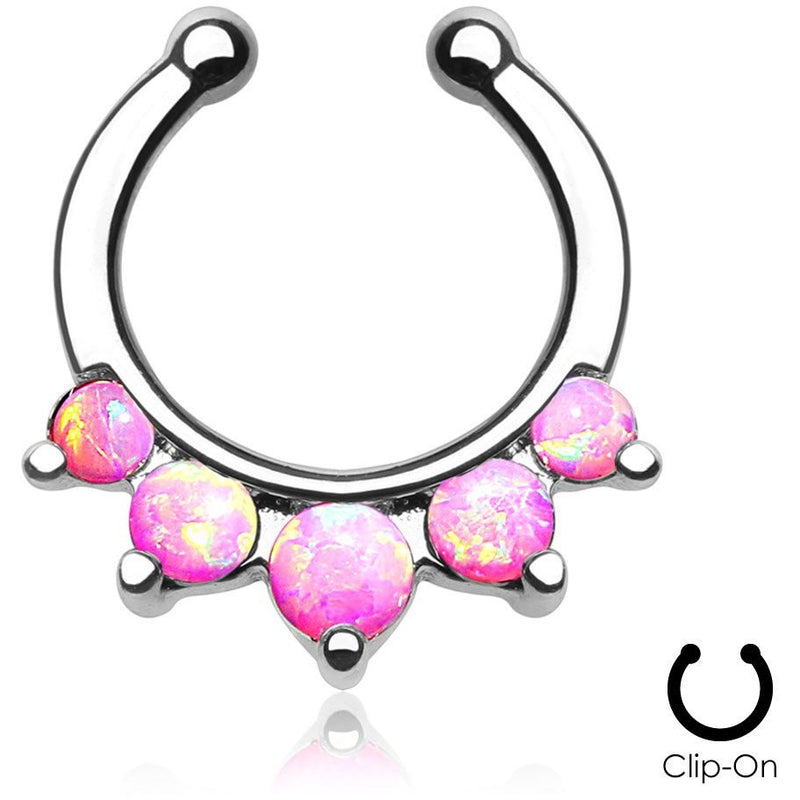 Angelica Pink Fire Opal Clip On Septum