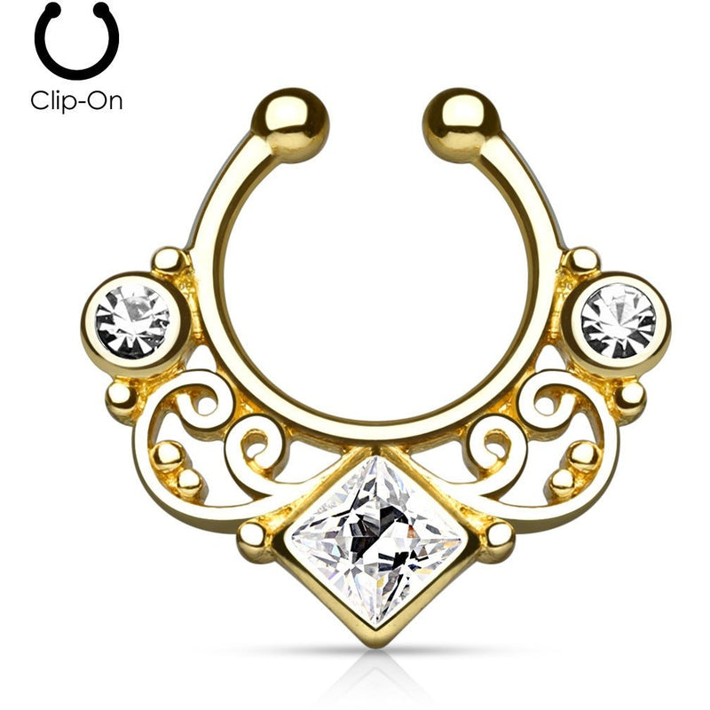 Tribal Goddess Gold Septum Clip-On