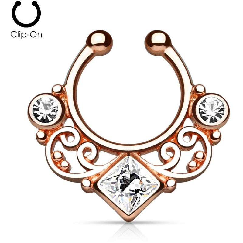 Tribal Goddess Rose Gold Septum Clip-On