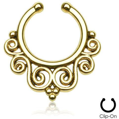 Gold Tribal Swirls Septum Clip-On
