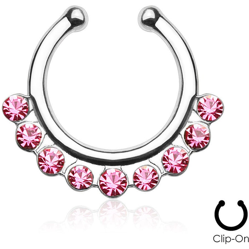 Cynthia Pink Gem Clip On Septum