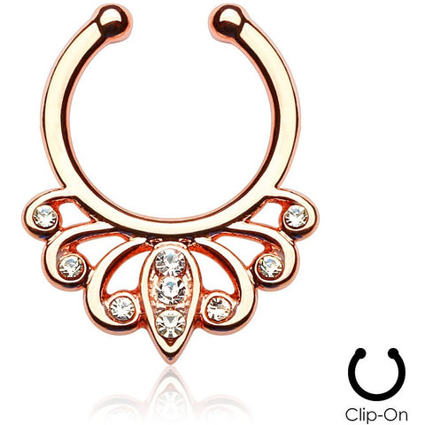 Cosmic Filigree Rose Gold Septum Clip-On