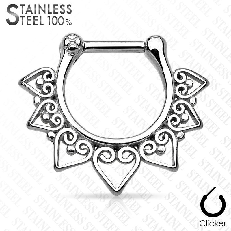 Steel Tribal Heart Septum Clicker