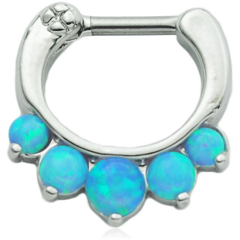 5 Pronged Light Blue Fire Opal Septum Clicker