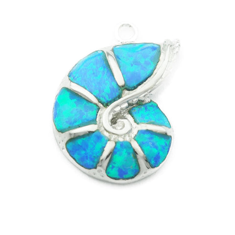 Opal Ammonite Shell Silver Necklace