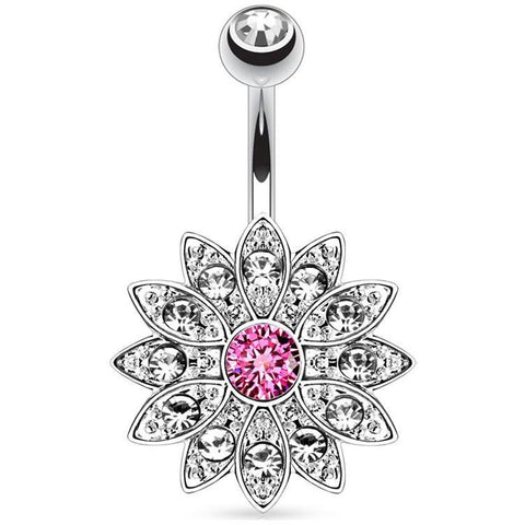 Pink Gem Flower Belly Ring
