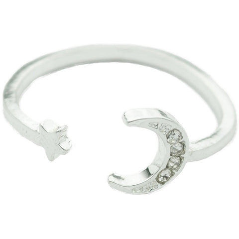 Silver Adjustable Moon with Star Ring