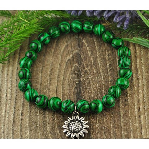 Malachite Sunflower Charm Crystal Bracelet