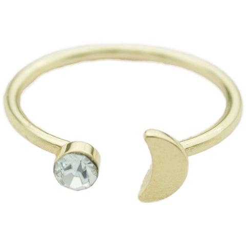 Gold Adjustable Moon with Gem Ring