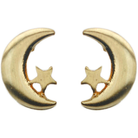 Gold Moon Earring Studs