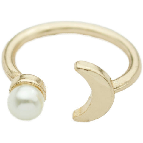 Gold Adjustable Pearl Moon Ring
