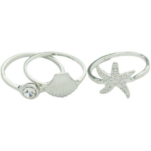 Silver Mermaid Midi Ring Set