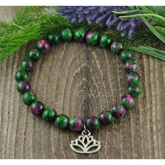 Ruby in Fuchsite Lotus Charm Crystal Stone Bracelet