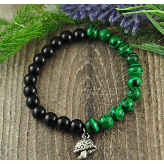 Malachite and Black Onyx Mushroom Charm Crystal Bracelet