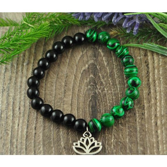 Malachite and Black Onyx Lotus Charm Crystal Bracelet