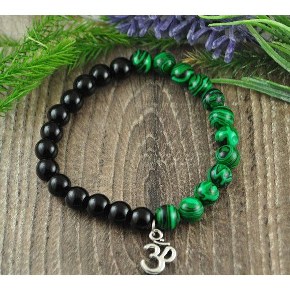 Malachite and Black Onyx Om Charm Crystal Bracelet