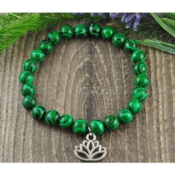 Malachite Lotus Charm Crystal Bracelet