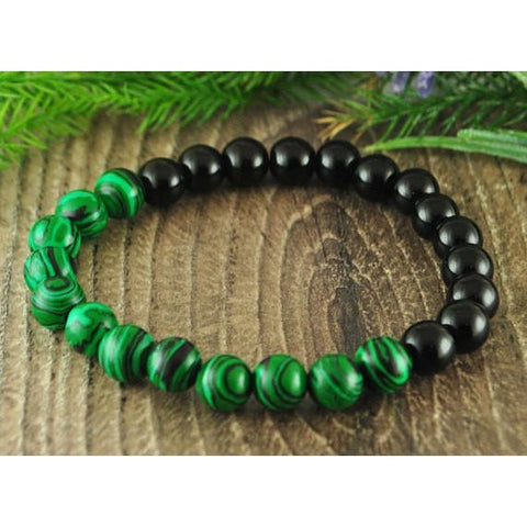 Malachite and Black Onyx Crystal Bracelet
