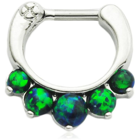 5 Pronged Blue/Green Fire Opal Septum Clicker