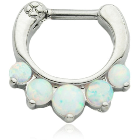 5 Pronged White Fire Opal Septum Clicker