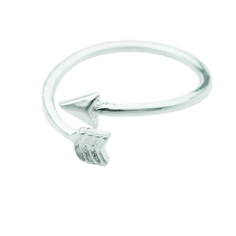 Silver Adjustable Arrow Ring