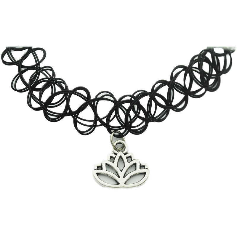 Lotus Flower Charm Tattoo Choker