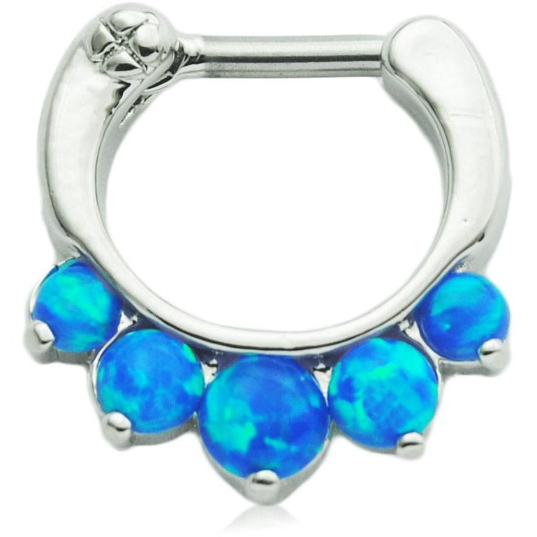 5 Pronged Caribbean Blue Fire Opal Septum Clicker