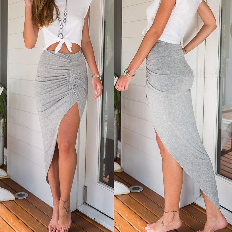 Gray Boho Side Split Maxi Skirt