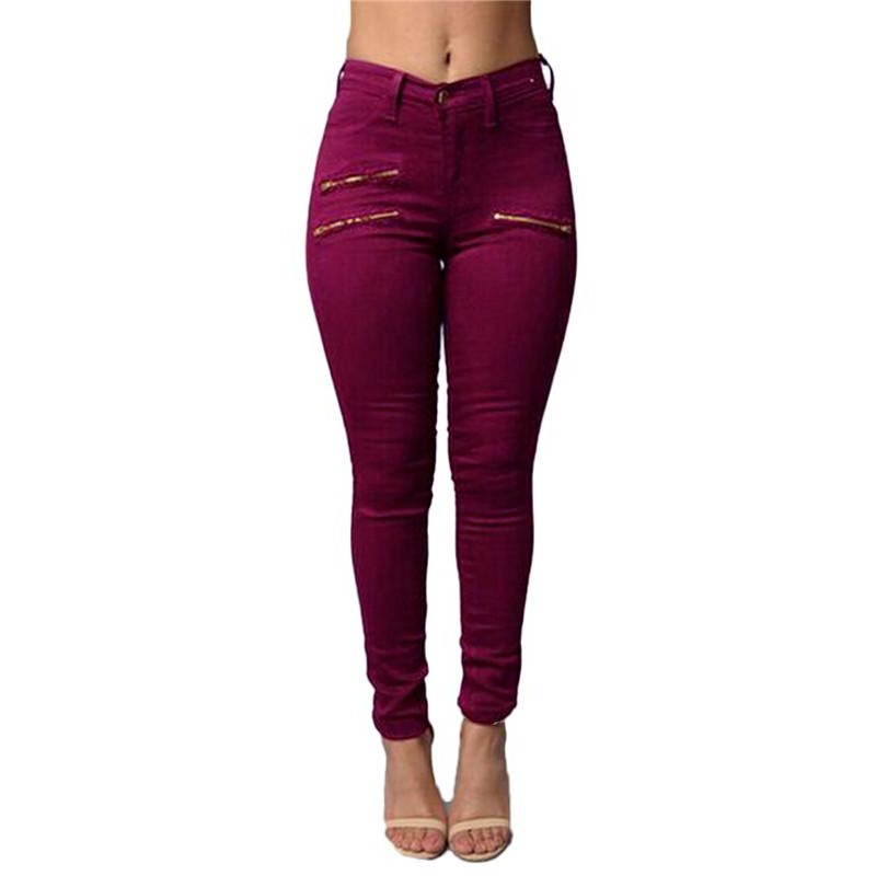 High Waisted Skinny Casual Denim Jeans with Zippers