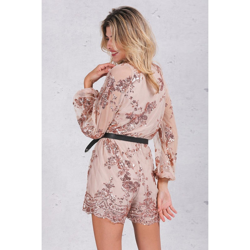 Autumn Gold Sequin Embroidery Romper