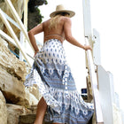 White Boho Casual Split Maxi Skirt