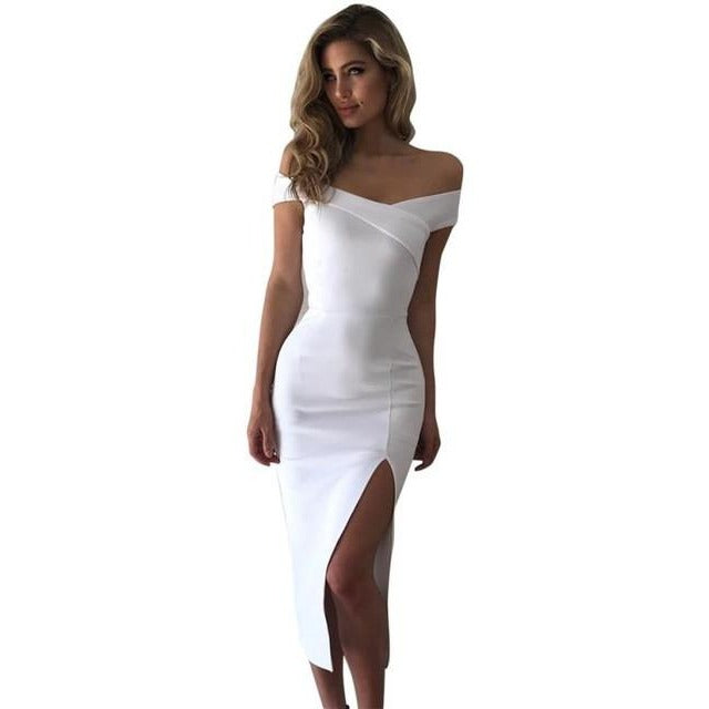 Women Off Shoulder Sleeveless Slim Cocktail Party Dress