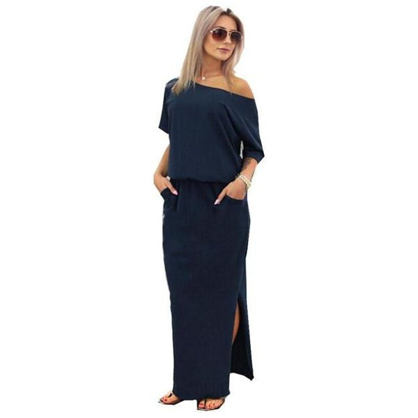 Women's Long Maxi Dress with Pocket Stretch