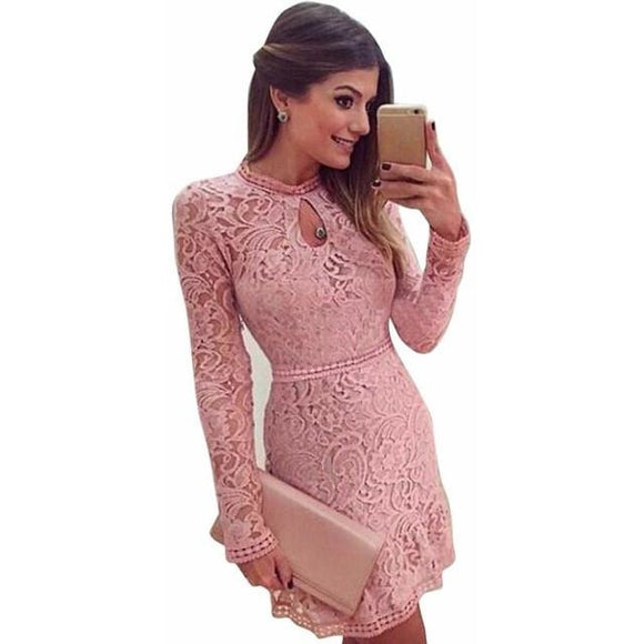 Women's Pink Hollow Out Lace Long Sleeve Dress