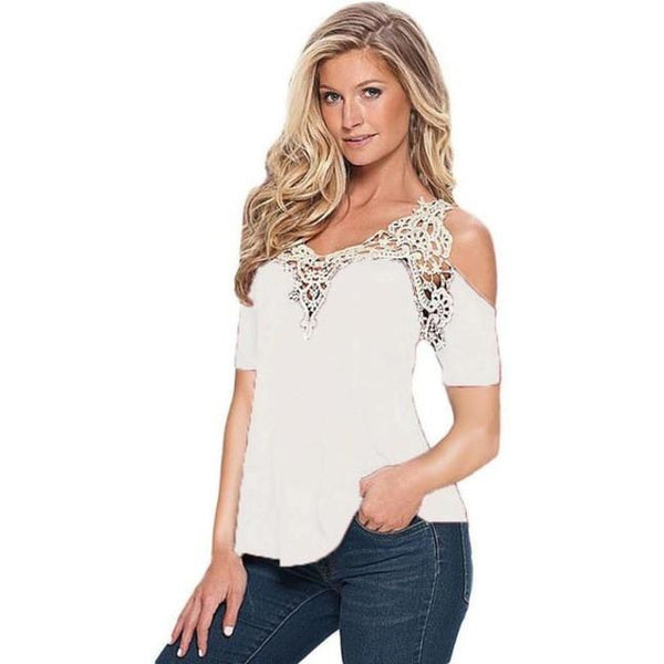 White Lace Top Short Sleeve Off Shoulder Blouse
