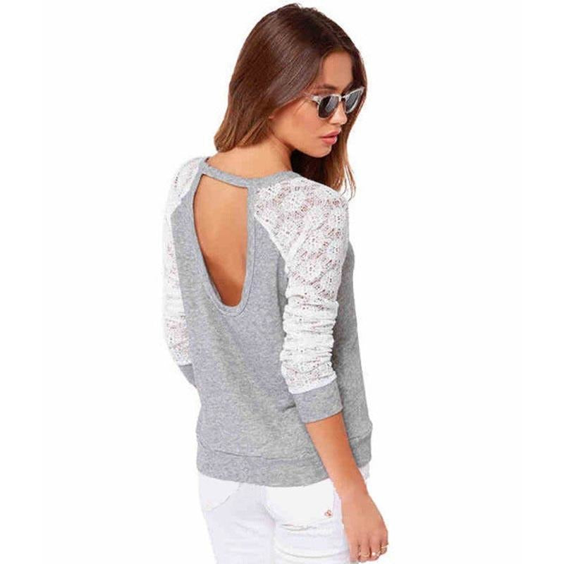 Backless Embroidery Crochet Blouse
