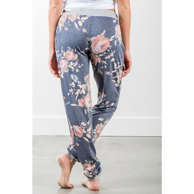 Floral Print Loose Stretch High Waist Wide Leg Long Pants