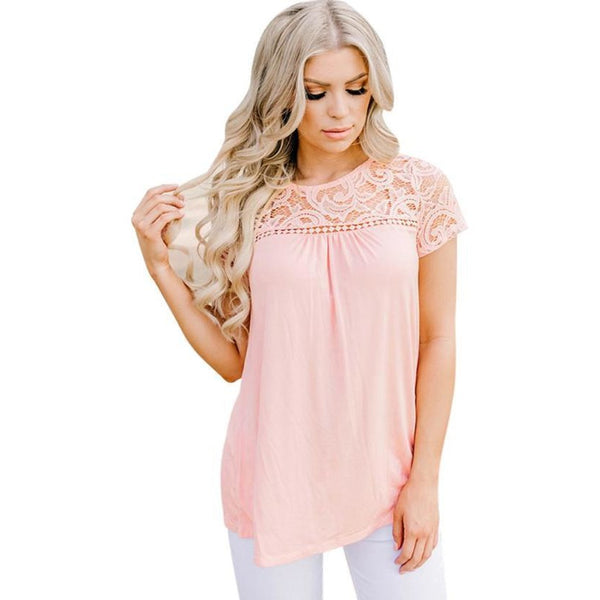 Boho Begonia Lace Top Short Sleeve Blouse