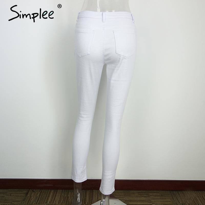 White Ripped Jean Leggings