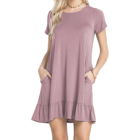 Grape Purple Short Sleeve Draped Hemline Shirt Dress