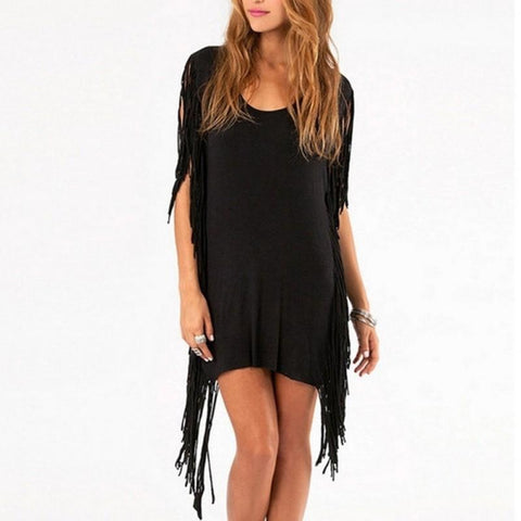 Black Fringe Party Dress With Hippie and Tassels