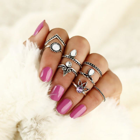 Boho Midi Finger Crystal Rings 8Pcs/Set